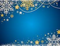 Blauwe Kerstmisachtergrond met kader van gouden en zilveren glitte royalty-vrije illustratie