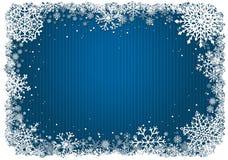 Blauwe Kerstmisachtergrond met kader van sneeuwvlokken Stock Afbeelding
