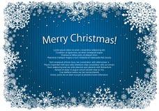 Blauwe Kerstmisachtergrond met kader van sneeuwvlokken Stock Fotografie