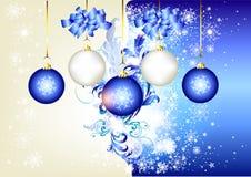 Blauwe Kerstmisachtergrond met ruimte en snuisterijen Royalty-vrije Stock Afbeelding