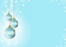 Blauwe Kerstmisballen Stock Fotografie