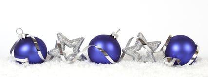 Blauwe Kerstmisballen Royalty-vrije Stock Foto's