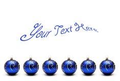Blauwe Kerstmisballen met tekst Stock Afbeeldingen