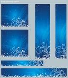 Blauwe Kerstmisbanners, vector Stock Foto