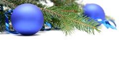 Blauwe Kerstmisbollen Royalty-vrije Stock Foto's