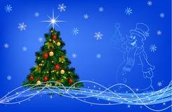 Blauwe Kerstmiscollage. Stock Afbeelding