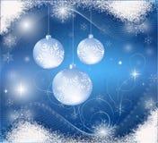 Blauwe Kerstmiskaart Stock Afbeeldingen