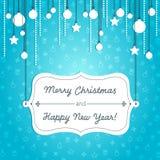 Blauwe Kerstmiskaart Stock Foto