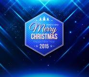 Blauwe Kerstmiskaart Abstracte gestreepte achtergrond Royalty-vrije Stock Foto's
