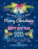 Blauwe Kerstmiskaart met decoratief ornament, vector Stock Afbeelding