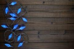 Blauwe Kerstmislichten Stock Foto