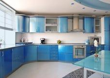 Blauwe keuken stock afbeelding