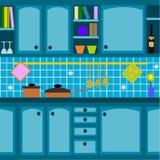Blauwe keuken Stock Afbeeldingen