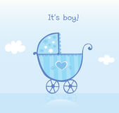 Blauwe kinderwagen voor jongen royalty-vrije illustratie