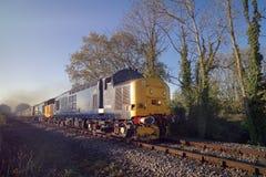 Blauwe Klasse 37 Locos met Trein Royalty-vrije Stock Afbeeldingen