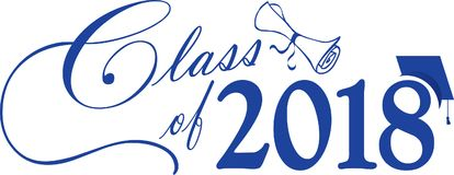 Blauwe Klasse van 2018 met GLB en Diploma vector illustratie