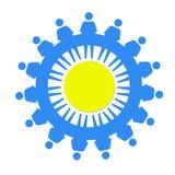 Blauwe kleine mensen als symbool van solidariteit Stock Afbeelding