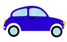 Blauwe kleine oude retro hipster uitstekende antieke two-door auto, vijfdeursauto op een witte achtergrond Stock Fotografie