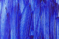 Blauwe kleur van het schilderen op canvas stock afbeeldingen