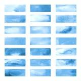 Blauwe kleurenbanners die met de tellers van Japan worden getrokken Modieuze elementen voor ontwerp Vectortellersslag stock illustratie