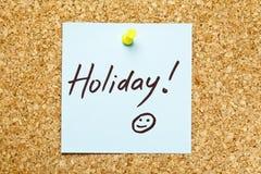 Blauwe kleverige nota ?Vakantie!? Stock Afbeelding