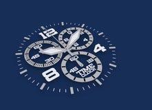 Blauwe klok Royalty-vrije Stock Afbeeldingen