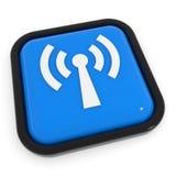 Blauwe knoop met antenne WiFi. stock illustratie