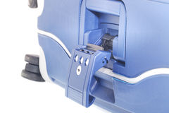 Blauwe Koffer op wielen Royalty-vrije Stock Afbeelding