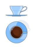 Blauwe koffiekop met plaat Stock Foto