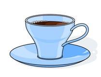 Blauwe koffiekop met plaat Stock Foto's
