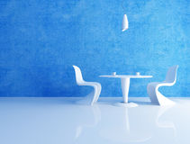 Blauwe koffieruimte Stock Afbeeldingen