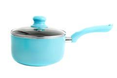 Blauwe kokende pot Stock Foto