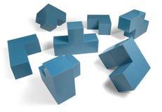 Blauwe kubieke voorwerpen Stock Foto