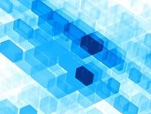 Blauwe kubussen - abstract digitaal geproduceerd beeld Stock Afbeelding