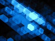 Blauwe kubussen - abstract digitaal geproduceerd beeld Stock Afbeeldingen