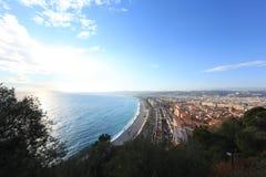 Blauwe Kustkooi D 'Azur la Baie des Anges stock afbeeldingen
