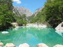 Blauwe lagune in canion Turkije Stock Foto