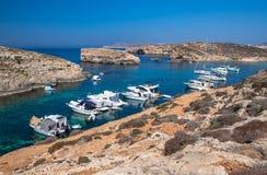 Blauwe lagune in Comino - Malta Royalty-vrije Stock Afbeeldingen