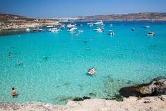 Blauwe lagune in Comino - Malta Stock Afbeeldingen