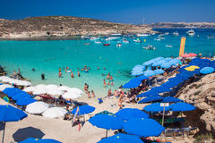 Blauwe lagune in Comino - Malta Stock Foto