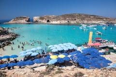 Blauwe lagune in Comino - Malta Royalty-vrije Stock Foto