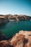 Blauwe lagune op Kreta met strand, Griekenland Stock Afbeelding