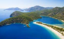 Blauwe lagune in Turkije Stock Afbeeldingen