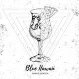 Blauwe lagune van de Hipster de realistische en veelhoekige cocktail Stock Foto's