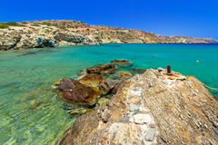Blauwe lagune van strand Vai op Kreta Stock Afbeelding