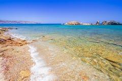 Blauwe lagune van strand Vai op Kreta Stock Fotografie