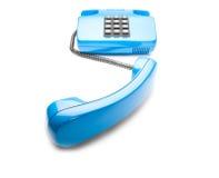 Blauwe landline telefoon op geïsoleerde achtergrond met een schaduw Royalty-vrije Stock Foto
