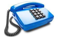 Blauwe landline telefoon op geïsoleerde witte achtergrond met schaduw Royalty-vrije Stock Afbeeldingen