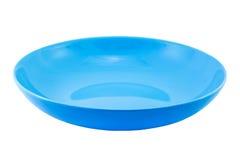 Blauwe lege die plaat op wit wordt geïsoleerd Stock Foto