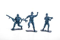 Blauwe legerstuk speelgoed militairen Royalty-vrije Stock Fotografie